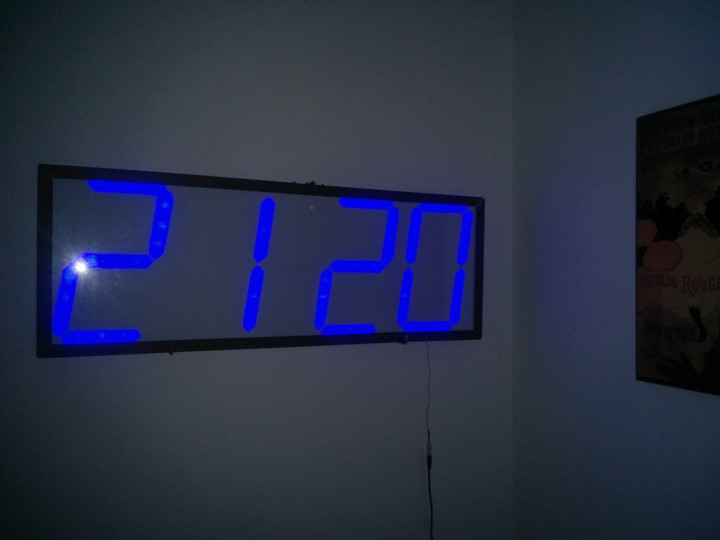 Large Blue Led Wall Clock