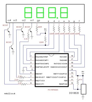 4 Digit Thermometer using DS18B20 and PIC16F628A