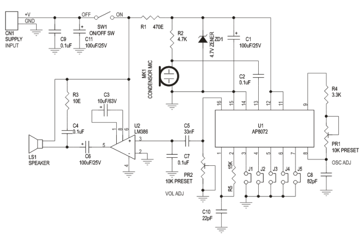 voice changer | electronics infoline, Wiring circuit