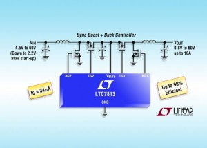 LTC7813 – IC cascades boost/buck controllers