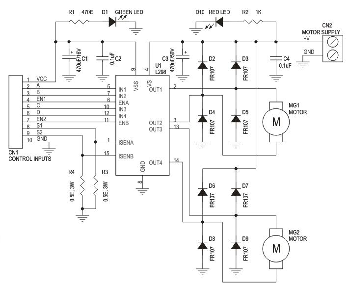 Dual Motor L298 H Bridge Motor Control Electronics Infoline